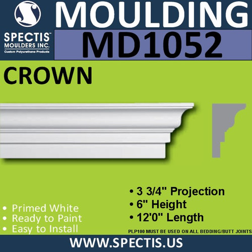 "MD1052 Spectis Crown Molding Trim 3 3/4""P x 6""H x 144""L"