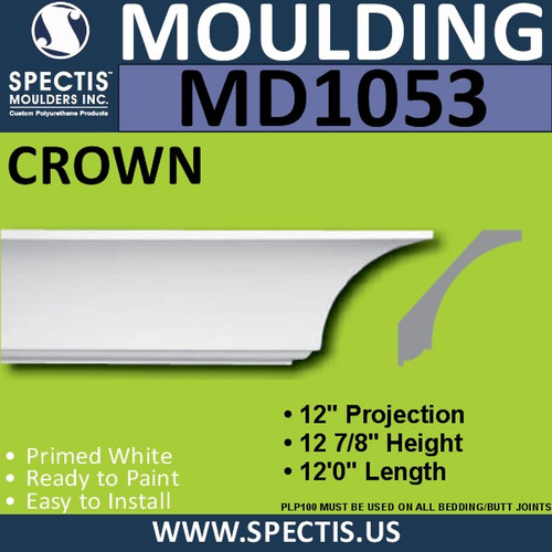 "MD1053 Spectis Crown Molding Trim 12""P x 13""H x 144""L"