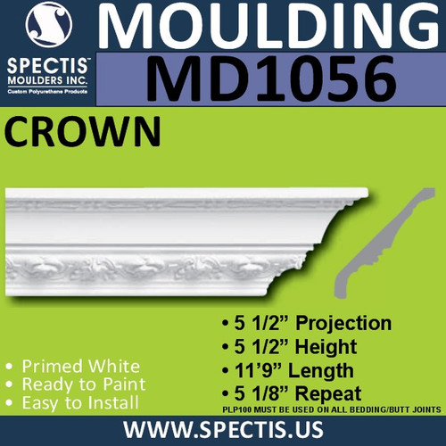 "MD1056 Spectis Crown Molding Trim 5 1/2""P x 5 1/2""H x 141""L"