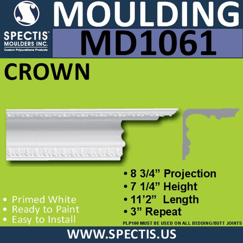 "MD1061 Spectis Crown Molding Trim 8 3/4""P x 7 1/4""H x 134""L"