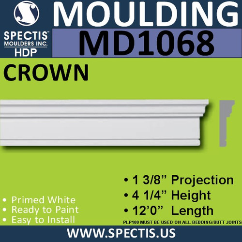 """MD1068 Spectis Molding Case Trim 1 3/8""""P x 4 1/4""""H x 144""""L"""