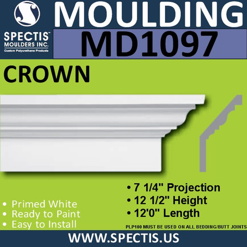 "MD1097 Spectis Crown Molding Trim 7 1/4""P x 12 1/2""H x 144""L"