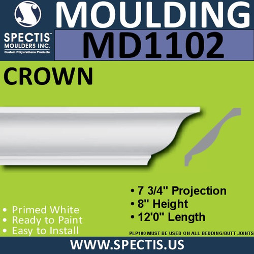 "MD1102 Spectis Crown Molding Trim 7 3/4""P x 8""H x 144""L"
