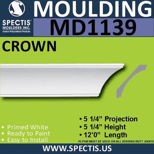 """MD1139 Spectis Crown Molding Trim 5 1/4""""P x 5 1/4""""H x 144""""L"""