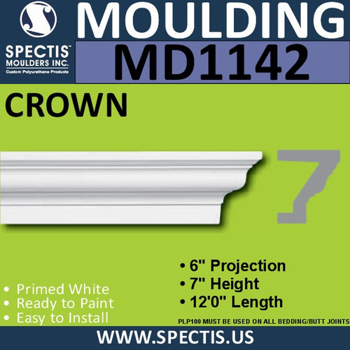 "MD1142 Spectis Crown Molding Trim 6""P x 7""H x 144""L"