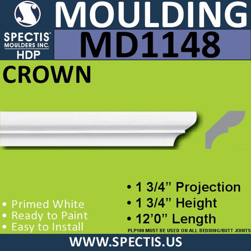 "MD1148 Spectis Crown Molding Trim 1 3/4""P x 1 3/4""H x 144""L"