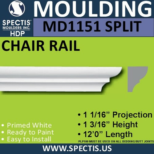 "MD1151 SPLIT Spectis Half Nose Trim 1 1/16""P x 1 3/16""H x 144""L"