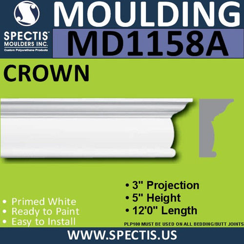 "MD1158A Spectis Crown Molding Trim 3""P x 5""H x 144""L"