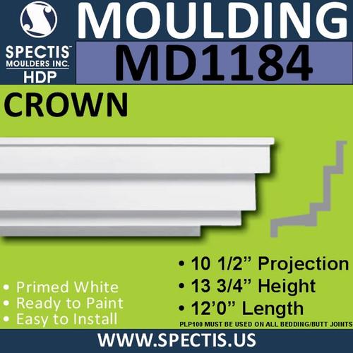 """MD1184 Spectis Crown Molding Trim 10 1/2""""P x 13 3/4""""H x 144""""L"""