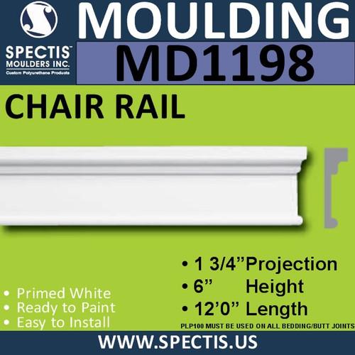 """MD1198 Spectis Molding Case Trim 1 3/4""""P x 6""""H x 144""""L"""