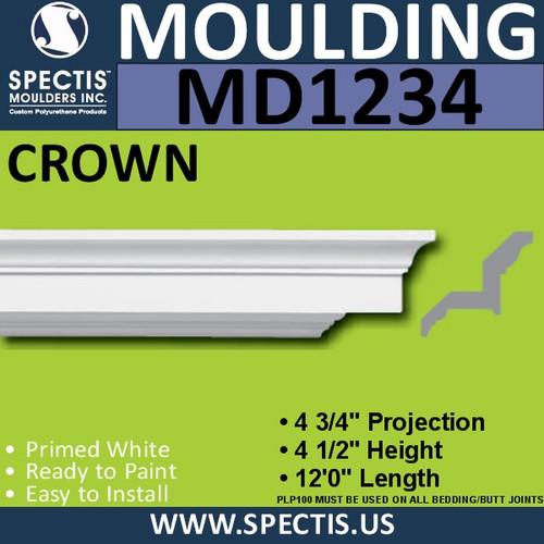 """MD1234 Spectis Crown Molding Trim 4 3/4""""P x 4 1/2""""H x 144""""L"""