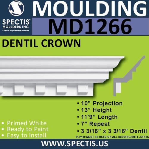 """MD1266 Spectis Crown Molding Dentil Trim 10""""P x 13""""H x 141""""L"""