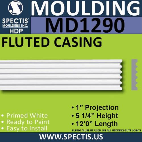 "MD1290 Spectis Molding Fluted Trim 1""P x 5 1/4""H x 144""L"