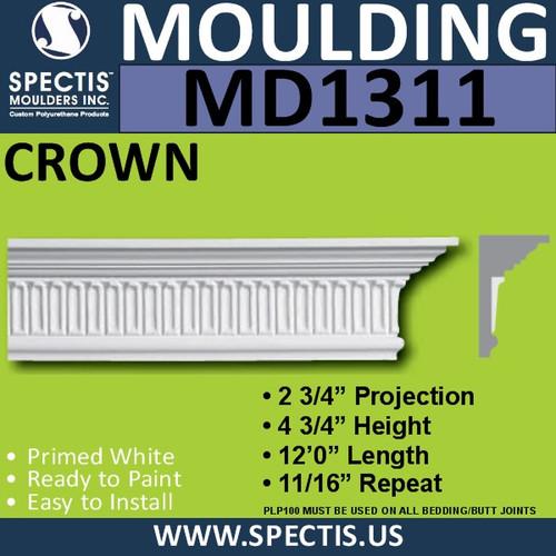 """MD1311 Spectis Crown Molding Trim 2 3/4""""P x 4 3/4""""H x 144""""L"""
