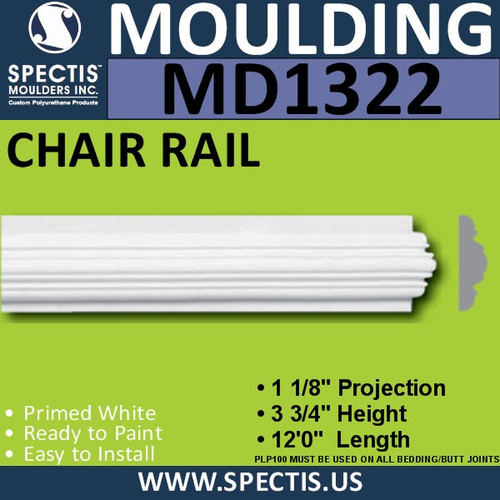 "MD1322 Spectis Molding Plant on Trim 1 1/8""P x 3 3/4""H x 144""L"