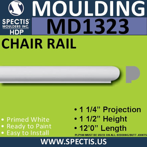 "MD1323 Spectis Molding Plant on Trim 1 1/4""P x 1 1/2""H x 144""L"