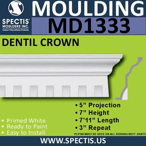 """MD1333 Spectis Crown Molding Dentil Trim 5""""P x 7""""H x 95""""L"""