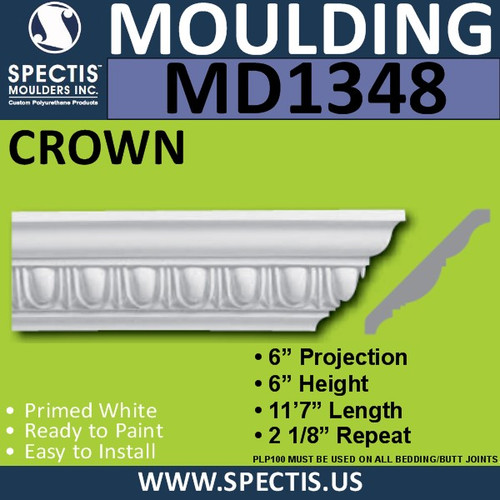 "MD1348 Spectis Crown Molding Trim 6""P x 6""H x 139""L"