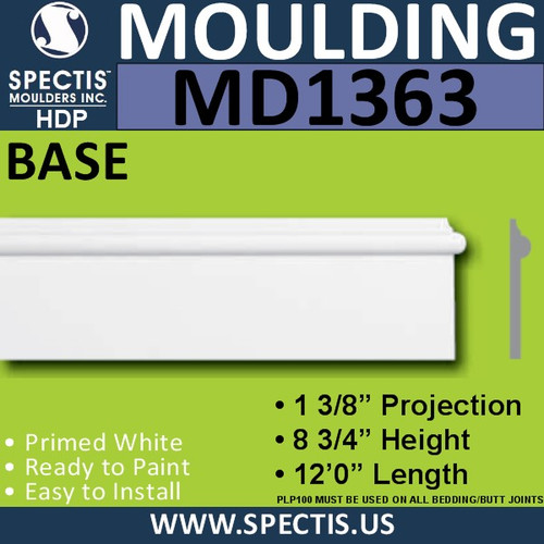 """MD1363 Spectis Molding Base Trim 1 3/8""""P x 8 3/4""""H x 144""""L"""