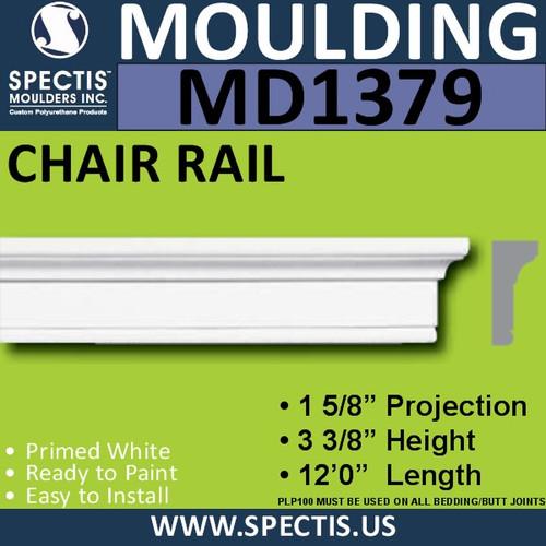 """MD1379 Spectis Molding Base Cap 1 5/8""""P x 3 3/8""""H x 144""""L"""