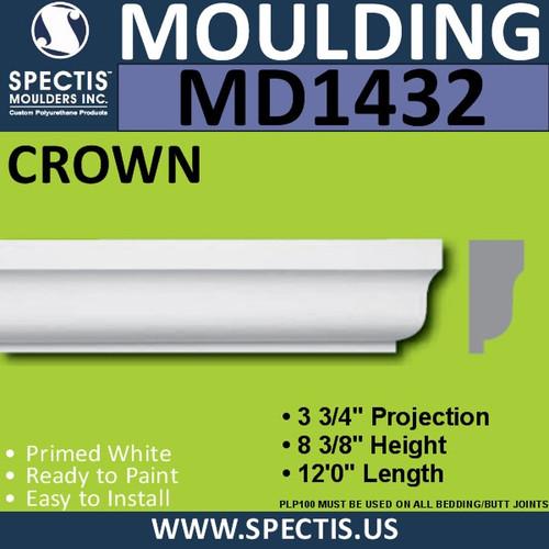 """MD1432 Spectis Molding Base Cap 3 3/4""""P x 8 3/8""""H x 144""""L"""