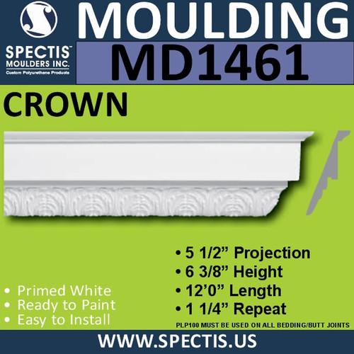 """MD1461 Spectis Crown Molding Trim 5 1/2""""P x 6 3/8""""H x 144""""L"""