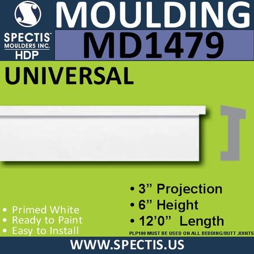 """MD1479 Spectis Molding Base Cap Trim 3""""P x 6""""H x 144""""L"""