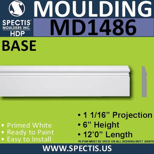"""MD1486 Spectis Molding Base Trim 1 1/16""""P x 6""""H x 144""""L"""