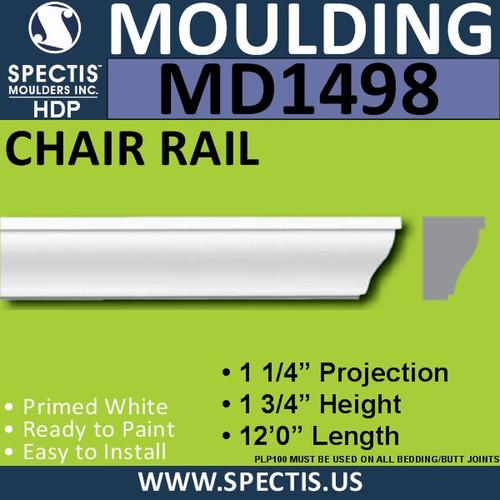 """MD1498 Spectis Molding Base Cap Trim 1 1/4""""P x 1 3/4""""H x 144""""L"""
