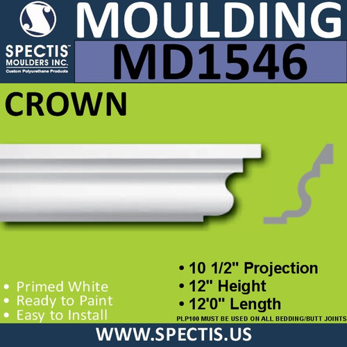 "MD1546 Spectis Crown Molding Trim 10 1/2""P x 12""H x 144""L"