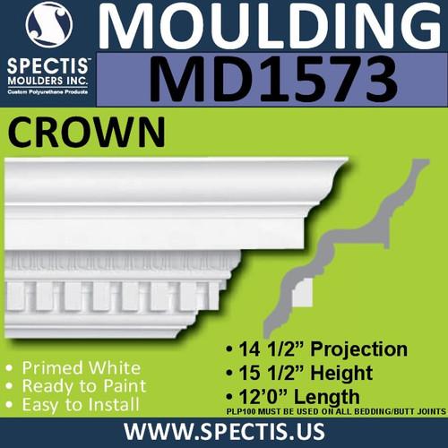 """MD1573 Crown Molding Dentil 14 1/2""""P x 15 1/2""""H x 144""""L"""