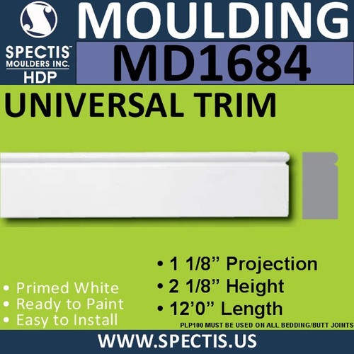 "MD1684 Spectis Brick Molding Trim 2 1/8""P x 1 1/8""H x 144""L"