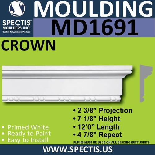 """MD1691 Spectis Crown Molding Trim 2 3/8""""P x 7 1/8""""H x 144""""L"""