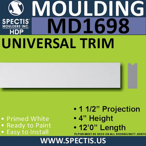 "MD1698 Spectis Molding Jamb Stock Trim 1 1/2""P x 4""W x 144""L"