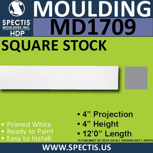 "MD1709 Spectis Molding Square Stock Trim 4""P x 4""H x 144""L"