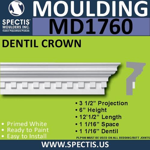 """MD1760 Spectis Crown Molding Dentil Trim 3 1/2""""P x 6""""H x 144.5""""L"""