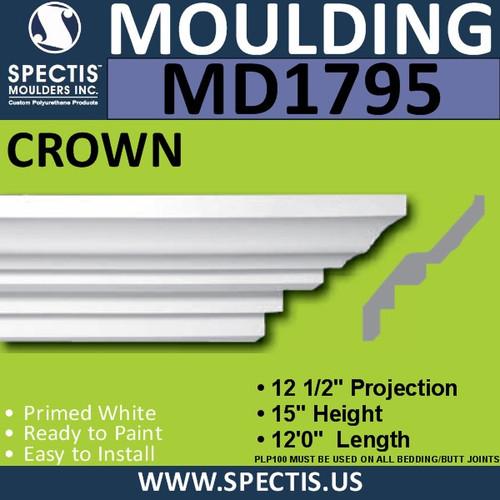 """MD1795 Spectis Crown Molding Trim 12 1/2""""P x 15""""H x 144""""L"""