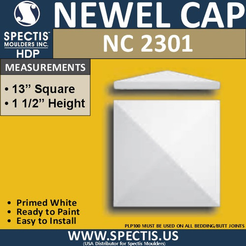"NC2301 Urethane Newel Cap 12.5"" W x 1.5"" H"