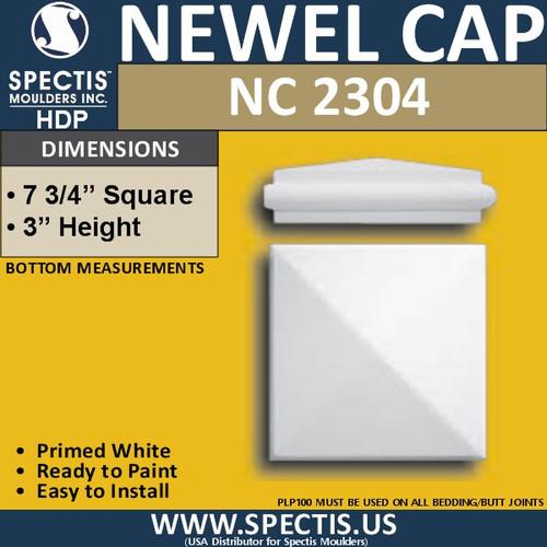 "NC2304 Urethane Newel Cap 7.75"" W x 3"" H"