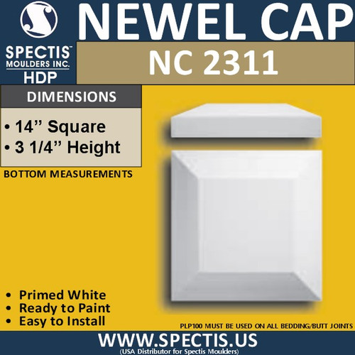 "NC2311 Urethane Newel Cap 14"" W x 3.25"" H"