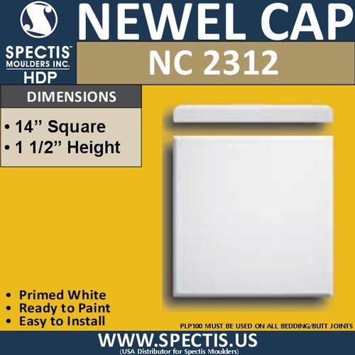 "NC2312 Urethane Newel Cap 14"" W x 1.5"" H"