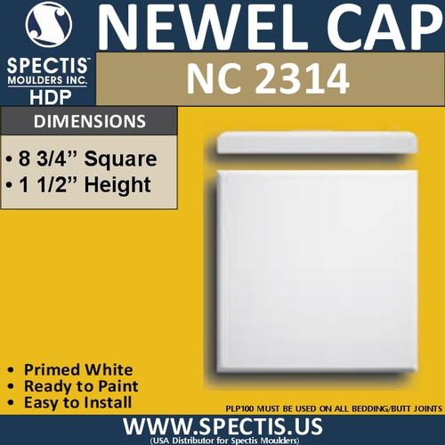 "NC2314 Urethane Newel Cap 8.75"" W x 1.5"" H"