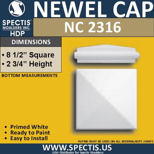 "NC2316 Urethane Newel Cap 8.5"" W x 2.75"" H"