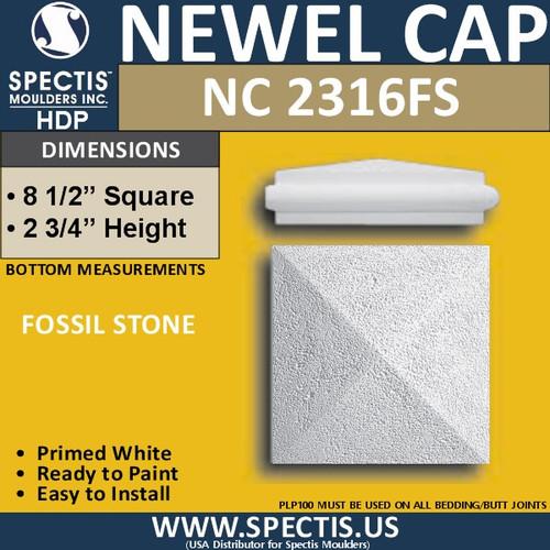 """NC2316FS Fossil Stone Newel Cap 8.5"""" W x 2.75"""" H"""