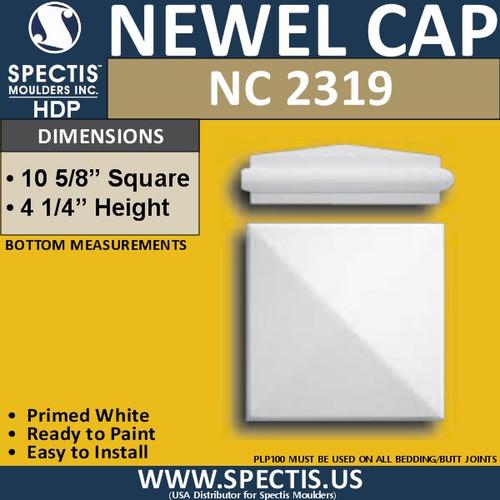 "NC2319 Urethane Newel Cap 10.6"" W x 4.25"" H"