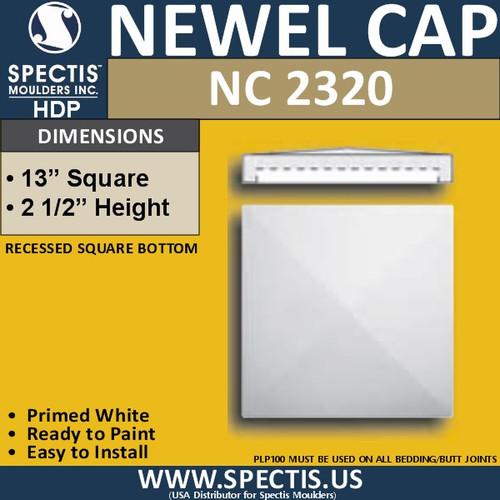 "NC2320 Urethane Newel Cap 13"" W x 2.5"" H"