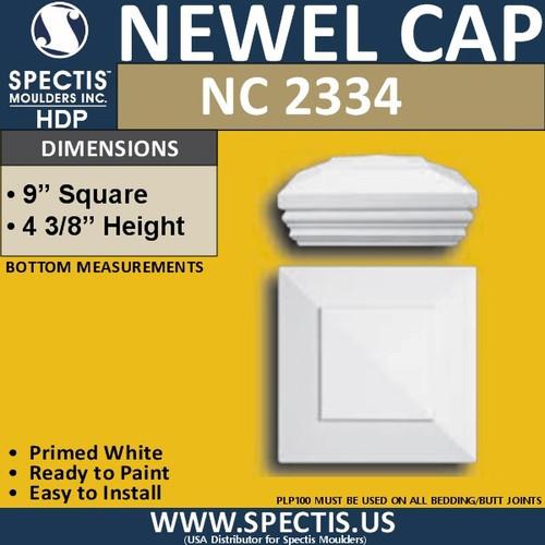 "NC2334 Urethane Newel Cap 9"" W x 4.2"" H"