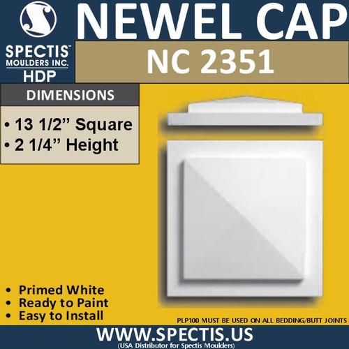 "NC2351 Urethane Newel Cap 13.5"" W x 2.25"" H"