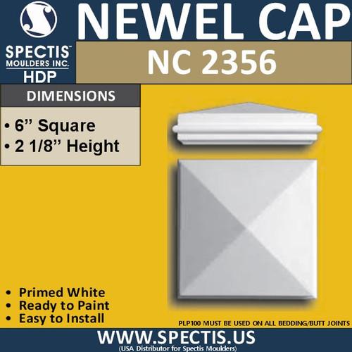 "NC2356 Urethane Newel Cap 6"" W x 2.2"" H"