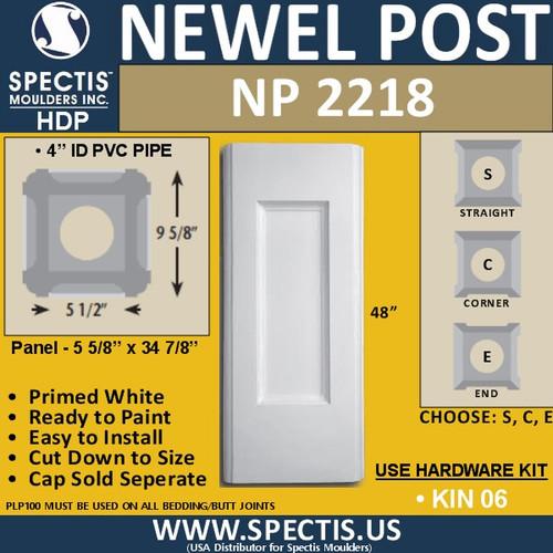"NP2218 Urethane Newel Post 9"" W x 48"" H"